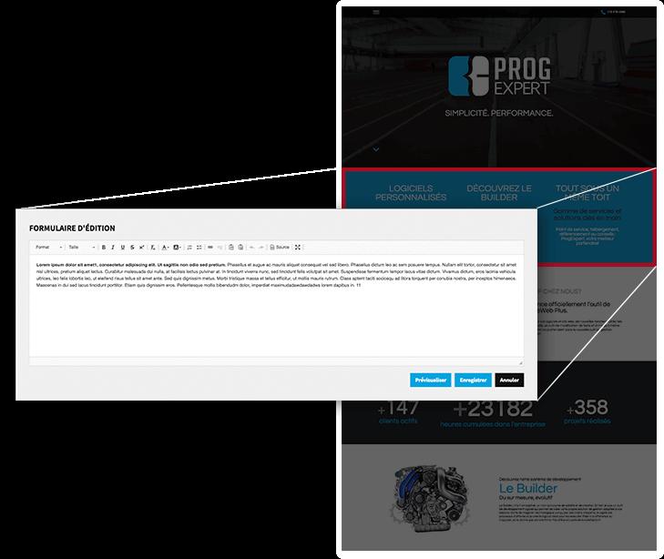 Éditeur de contenu intégré dans la page