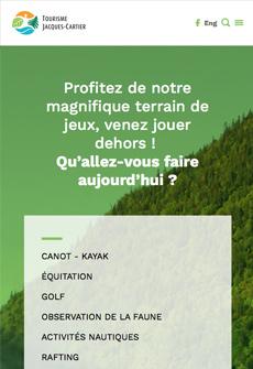 Aperçu sur tablette de Tourisme Jacques-Cartier